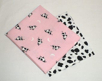 Cow Print fabric, Quilting, FQ, Pink, Black, White, Cow spots, cotton, cows, farm prints