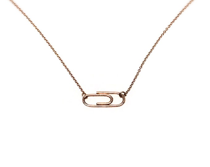 Rose Gold Mini Paperclip Necklace