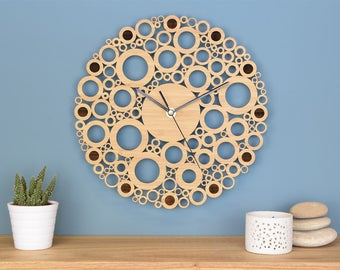 Wooden Clock, Circles Wall Clock, Kitchen Clock, Modern Wall Clock, Patterned Clock, Unique Clock, Office Clock, New Home, Gift for him