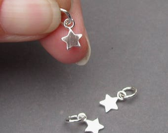 Petite Sterling Silver Star Charm, Sterling Silver Tag, Star Pendant, Bracelet Charm, Necklace Charm with Sterling Silver Jump Ring