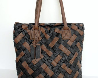 Medium Brown Leather Tote - Woven Leather Bag - Supple Black Leather Bag,Brown Leather Tote,Market Leather Tote