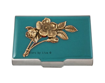 Art Nouveau Flowers Large Business Card Case Inlaid in Hand Painted Teal Enamel Metal Wallet Victorian Botanicals with Personalized Options