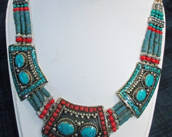 Hand Made, 23 year old, South American Jewelry, Turquoise, Coral and Lapis. Beautiful Created Necklace, Excellent Condition.  I-1 2024a