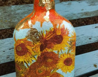 Vincent Van Gogh Sunflowers altered bottle,decoupaged bottle,Wedding gift,Christmas gift,Decanter,Hand decorated bottle,carafe,glass bottle