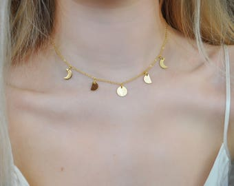 Handmade Gold Plated Moon Phase Choker Necklace | UK | Luna | Layering | Moon Cycle | Celestial