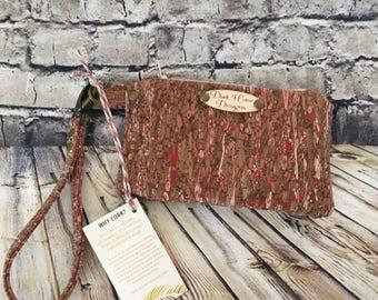 Straw Cork Wristlet, Cork Clutch, Cork purse, brown cork bag