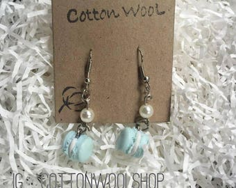Blue Pastel French Macaron Earrings