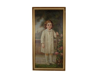 1935 Oil Painting Little girl in White Dress by Rose Trellis Caracciolo