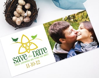 Celtic Knot Irish Photo Save the Date with Love Birds Tying the Knot - Printable Ireland Wedding Announcement Card
