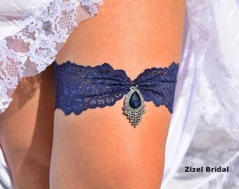 Wedding Garter, Blue Wedding Garter, Bridal Garter, Dark Blue Garter, Lace Blue Garter, Something Blue,Garter, Blue lace Garter, Garter Set