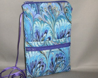 Smart Phone Purse - Passport Purse - Sling Bag - Hipster - Wallet on a String - Purple - Teal