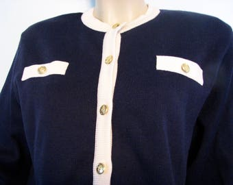 1980s Cardigan Navy Blue Nicole Summers Classic Sweater Nautical
