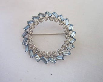 Retro Sterling Silver Designer Circle Brooch with Bright White & Blue Rhinestones