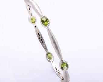 925 Sterling silver Natural Peridot Gemstone Bangle/Bracelet Satin Finish