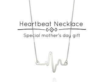 Heart Beat Necklace, Heartbeat Necklace, Heartbeat Jewelry, Heart Beat Pendant, Mother Day Gift, Best Friend Gift, Electrocardiogram Jewelry