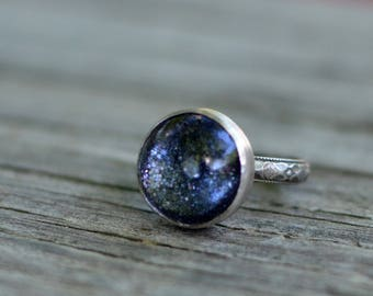 glitter ring - size US 6  - glitter, glass, and sterling silver