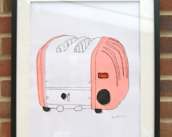 A2 Silk Screen Print of Classic Toaster in Pink