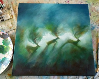 Original mixed media painting on canvas -