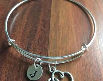Heart initial bracelet, heart jewelry, gift for girlfriend, sweetheart bracelet, Valentine's Day jewelry, silver heart bracelet
