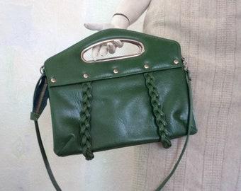 Green Women's Bag, Vintage Green Handbag, Green Patent Leather Bag, 70's Women's Bag, Green Shoulder Bag, Green Vintage Bag for Her
