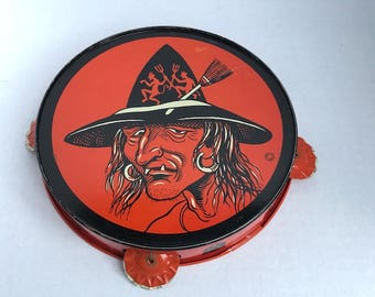 Vintage Halloween Witch Tambourine T. Cohn Made in USA 1950's