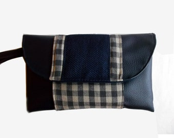 Pouch with cotton blue and beige Plaid, Navy blue leather strap