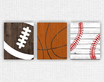 INSTANT DOWNLOAD Sports prints Basketball Football Baseball Rustic nursery, Sports Wooden boards, Sports Boy Wall Art Decor Set of 3, 8x10