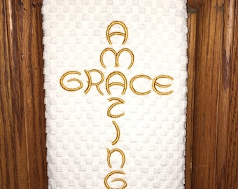 Embroidered kitchen dish towel - amazing grace, family, home decor, kitchen decoration, tea towel, Christian gift, birthday present