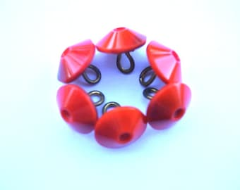 6 Buttons, glass, antique vintage, red 13mm shank buttons