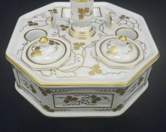 Antique Porcelain Hand Painted Double INKWELL Desk Top Gold Flower Leaf Design