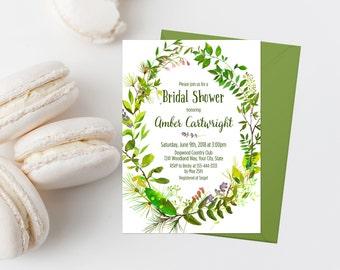 Greenery Bridal Shower Invitation Printable Green Foliage Bridal Shower Invite Greenery Wreath Spring Bridal Shower Woodland Shower 247