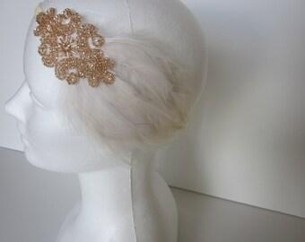 Ivory Wedding headband, 1920s bridal headpiece, champagne Gatsby headband, feather fascinator, beaded headband, Ivory feather, champagne