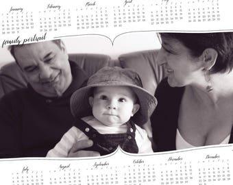black and white 2018 Calendar, one page psd template, Photo Calendar family portrait, psd Template, EUROPEAN Calendar, set of 2 calendars