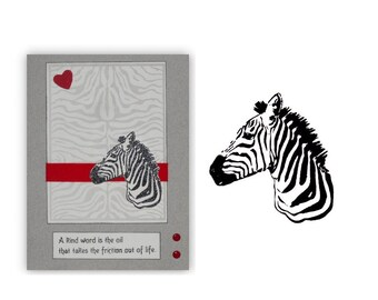 ZEBRA Bust Africa unmounted rubber stamp, wild animal, African expedition, safari, Serengeti, Sweet Grass Stamps No.17
