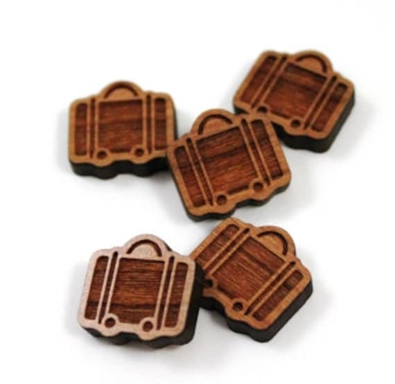 Laser Cut Supplies-8 Pieces.Suitcase Charms - Laser Cut Wood Suitcase -Earring Supplies- Little Laser Lab Sustainable Wood Products