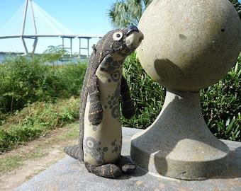 Maynard, stuffed Otter, handmade upcycled OOAK, stuffed animal