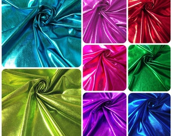 Colorful Shiny All Over Foil on Stretch Lightweight Knit Jersey Polyester Spandex Fabric - 58 to 60 Inches Wide - By the Yard or Bulk