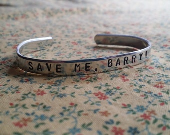 Save Me, Barry! Misfits Inspired Handstamped Aluminium Cuff Bracelet