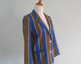 Nina Ricci Jacket - Chic 70s Nina Ricci Striped Cotton Jacket - Vintage Roaring 20s Style Striped Blazer - Vintage 1970s Jacket M