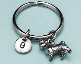 Shih tzu keychain, shih tzu dog charm, dog keychain, personalized keychain, initial charm, customized keychain, monogram, animal charm