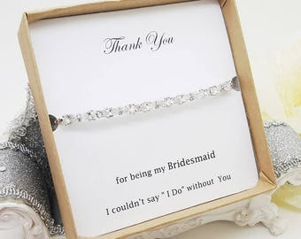 Small Bow Cubic Zirconia bridesmaid Bracelet Gift box