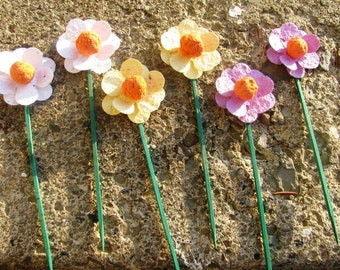 100 Plantable paper flowers on sticks- choose from 16 colors available