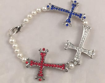 Red, White, and Blue Cross Bracelet