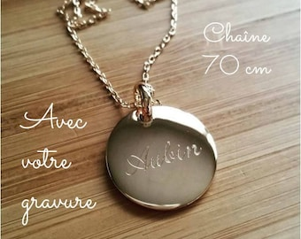Necklace chain 70 cm round medal 20 mm custom engraved gold-plated