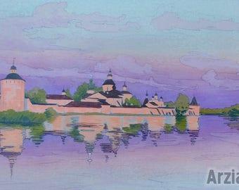 Impressionist Original Painting Art Russian Monastery Sunset Sundown Nightfall Pastel Landscape Evening Drawing Graphics Gouache Watercolor