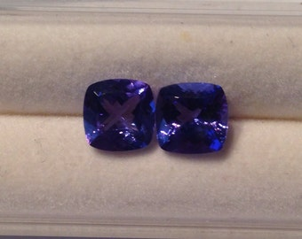 Natural Tanzanite Cushion Cut 7.5mm matching set!
