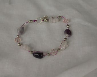 gemstone, amethyst, rose quartz, crystal, wirework bracelet