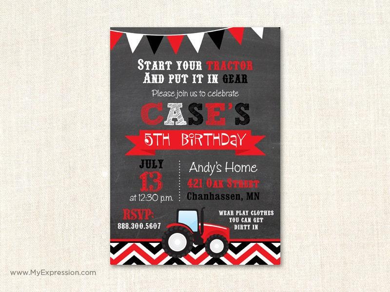 Red Tractor Birthday Invitation Tractor Farm Hay Birthday
