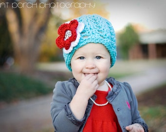 The Ashlee Beanie in Teal, Red and White Available in Newborn to Tween Size- MADE TO ORDER