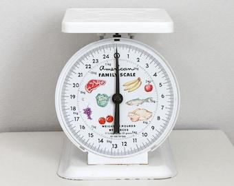 SALE Aluminum Kitchen Scale White - Vintage American Family Scale